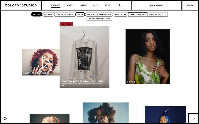 Screenshot of Colors x Studios website