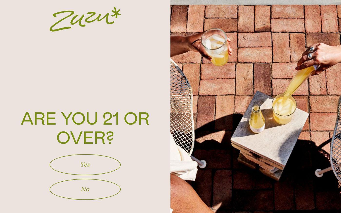 Screenshot of Drink Zuzu website