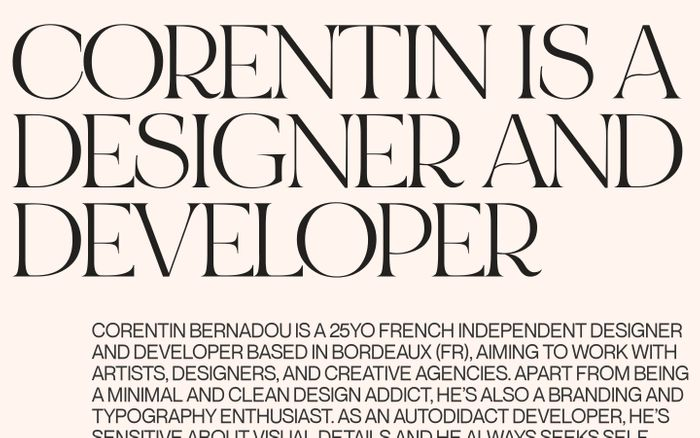 Screenshot of Corentin Bernadou — Independent Designer & Creative Developer
