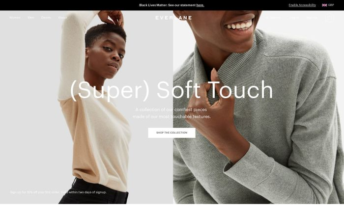 Screenshot of Everlane | Modern Basics. Radical Transparency.