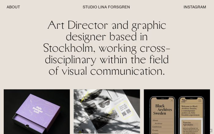 Screenshot of Studio Lina Forsgren website