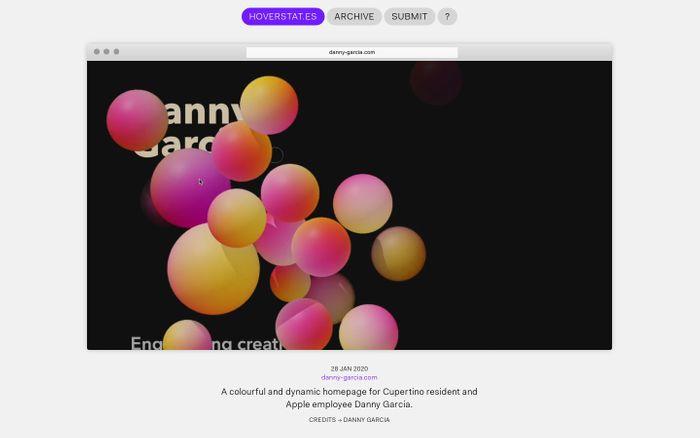 Screenshot of HOVERSTAT.ES | The home of alternative web-design.