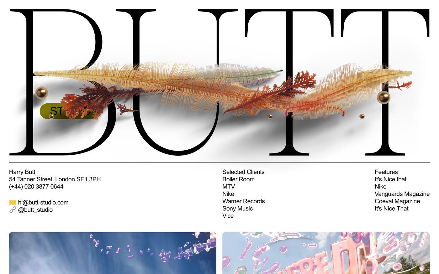Screenshot of Butt studio website