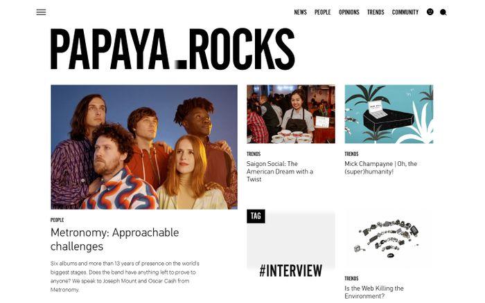 Screenshot of Papaya.Rocks