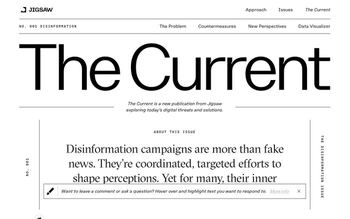 Screenshot of The Disinformation Issue - The Current | Jigsaw