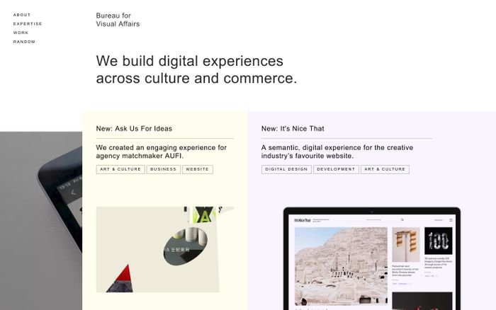 Screenshot of Bureau for Visual Affairs website