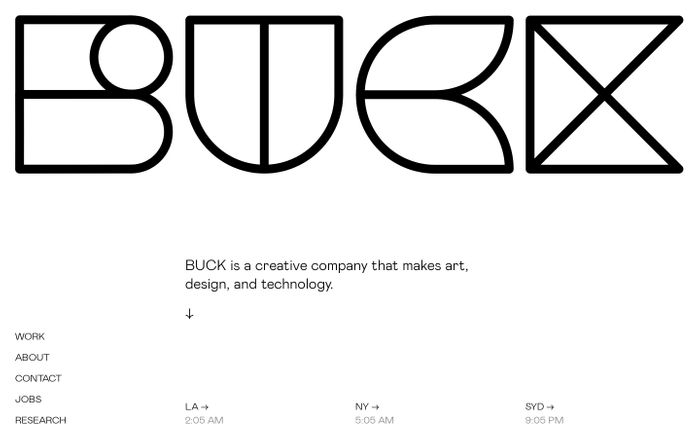 Screenshot of Buck website