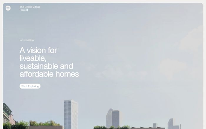 Screenshot of The Urban Village Project website