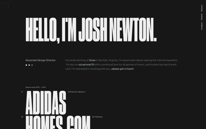 Screenshot of Josh Newton website