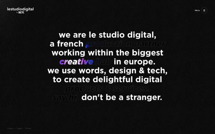 Screenshot of Le Studio Digital by BETC website