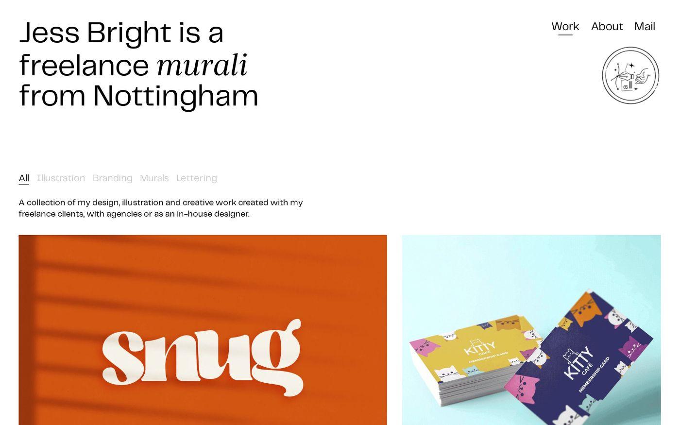 Screenshot of Jess Bright website