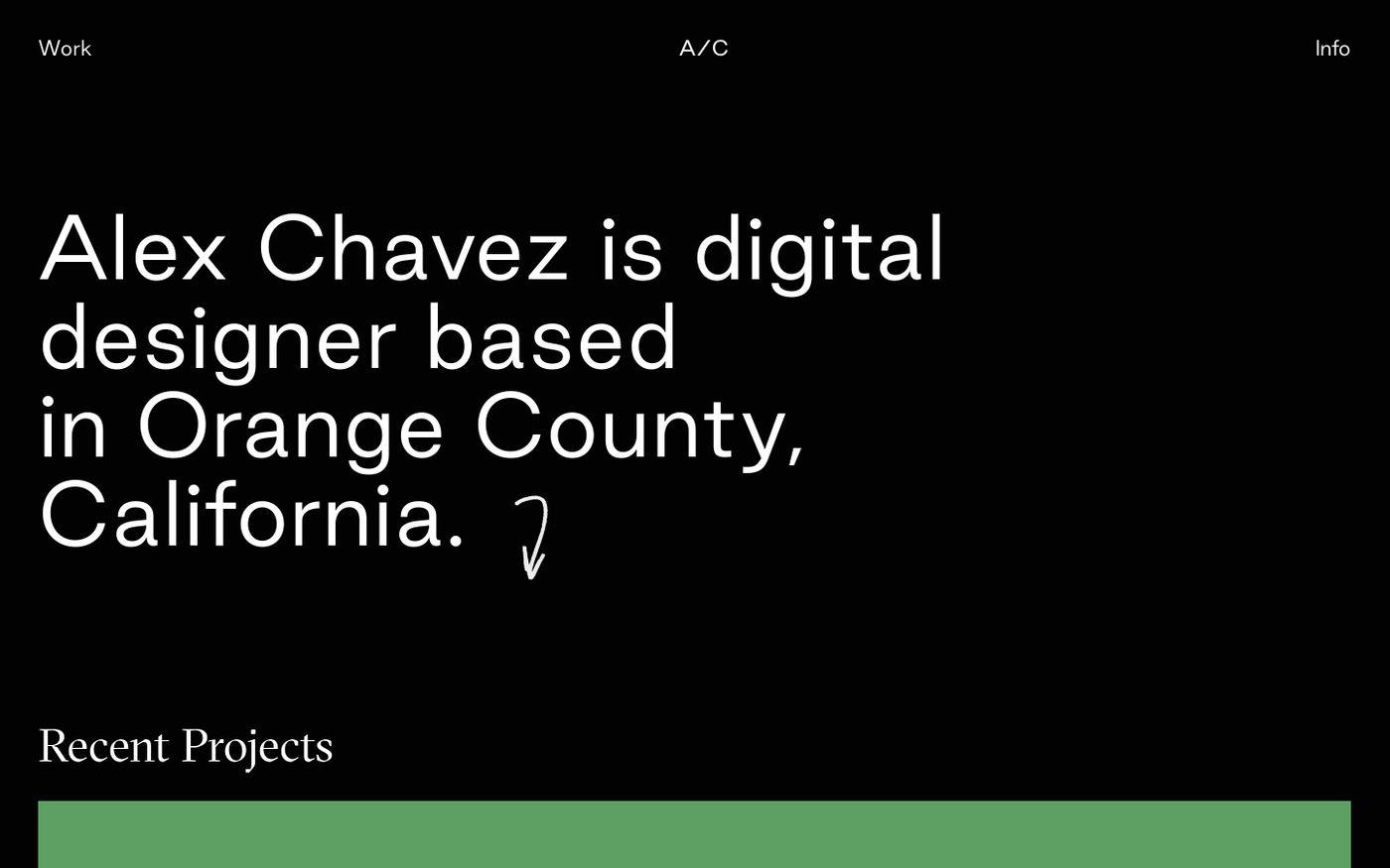 Screenshot of Alex Chavez - Works website