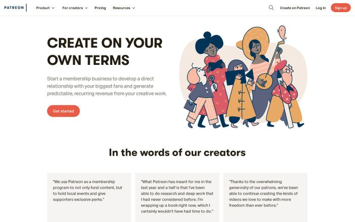 Screenshot of Best way for artists and creators to get sustainable income and connect with fans | Patreon
