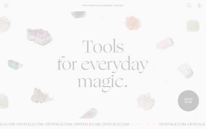 Screenshot of Crystals website