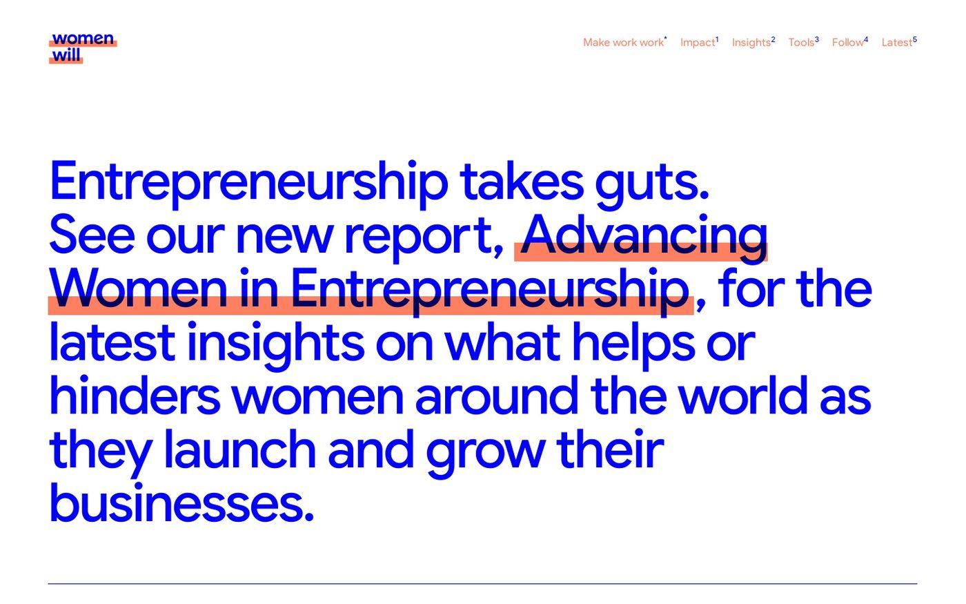 Screenshot of Women Will website