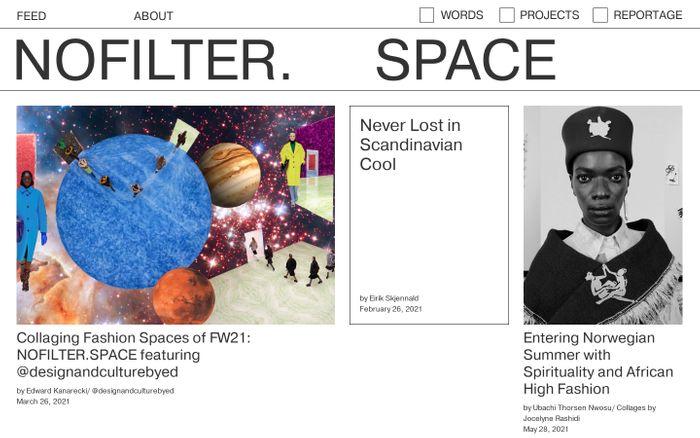 Screenshot of Nofilter.space website