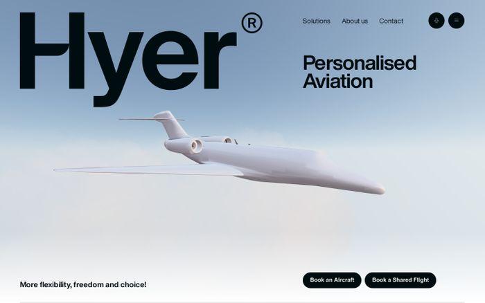 Screenshot of Hyer website
