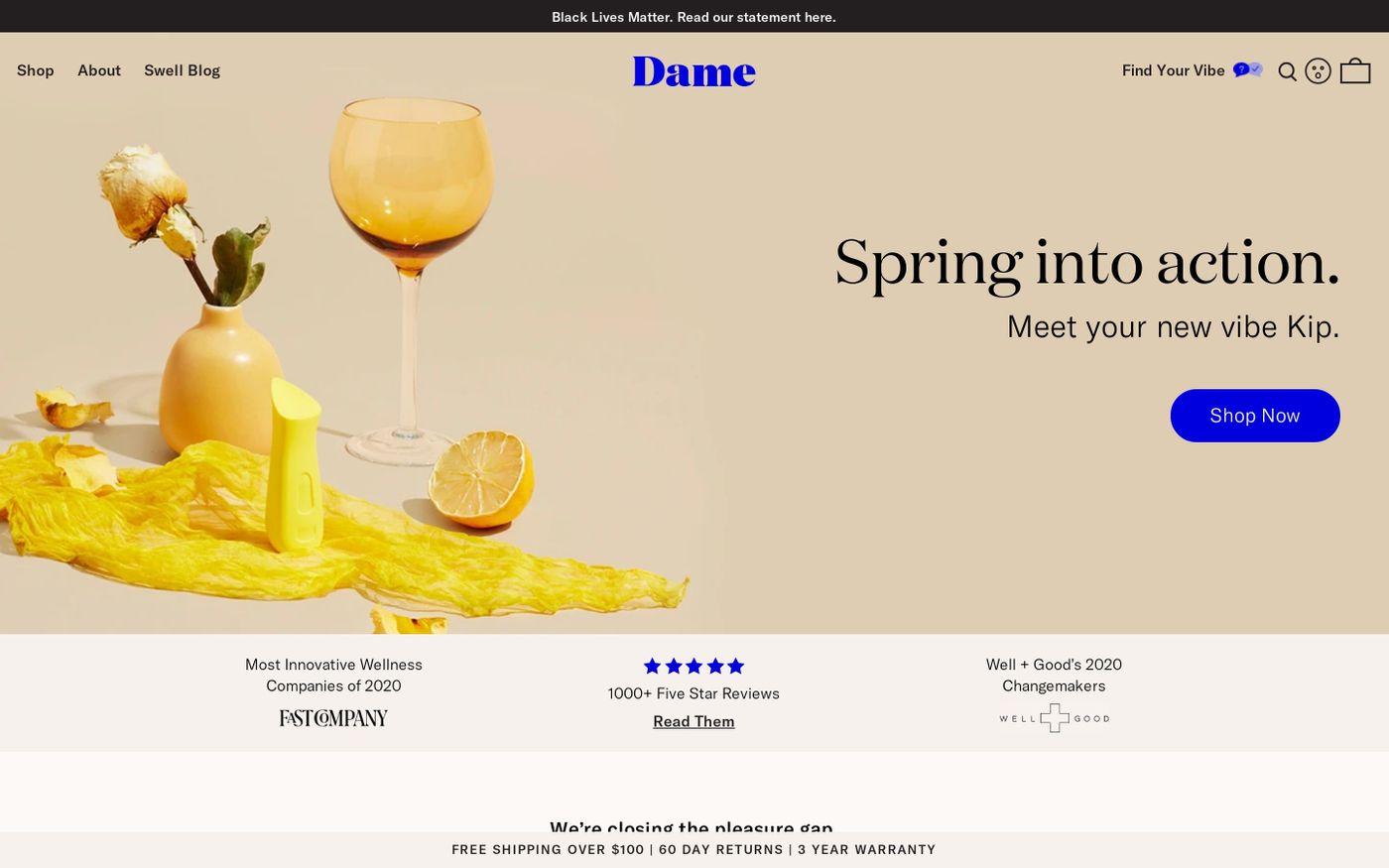 Screenshot of Dame website