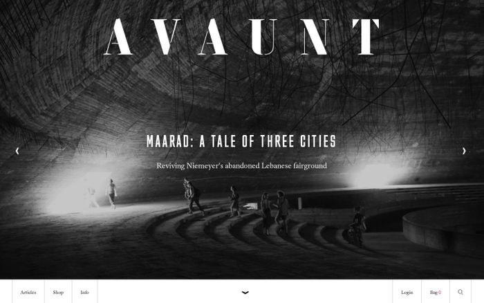 Screenshot of Avaunt Magazine website