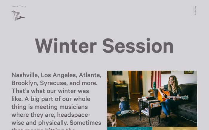 Screenshot of Winter Session - Yours Truly