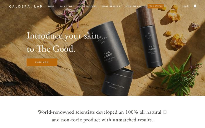 Screenshot of Caldera + Lab | Non-Toxic Luxury Skincare For Men