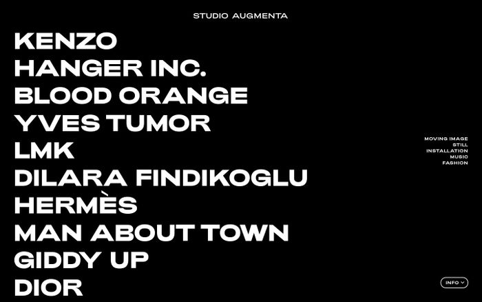 Screenshot of Studio Augmenta website