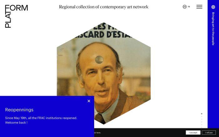 Screenshot of Regional collection of contemporary art network website
