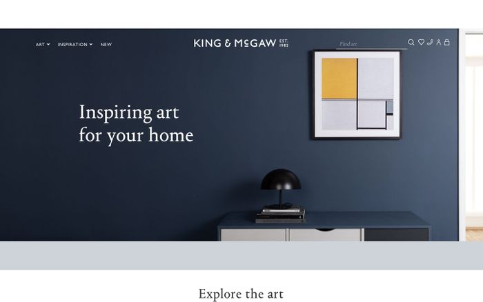 Screenshot of Framed Wall Art Prints & Posters – Buy Online | King & McGaw