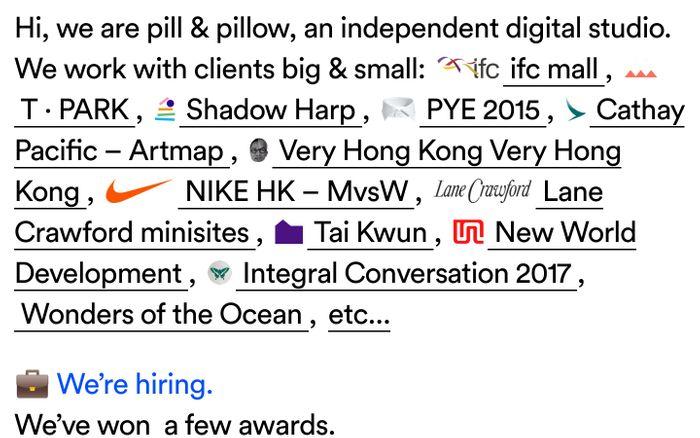 Screenshot of pill & pillow website