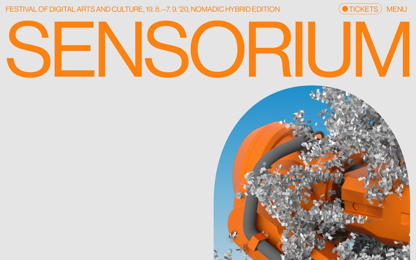 Screenshot of Sensorium Festival 2020 website