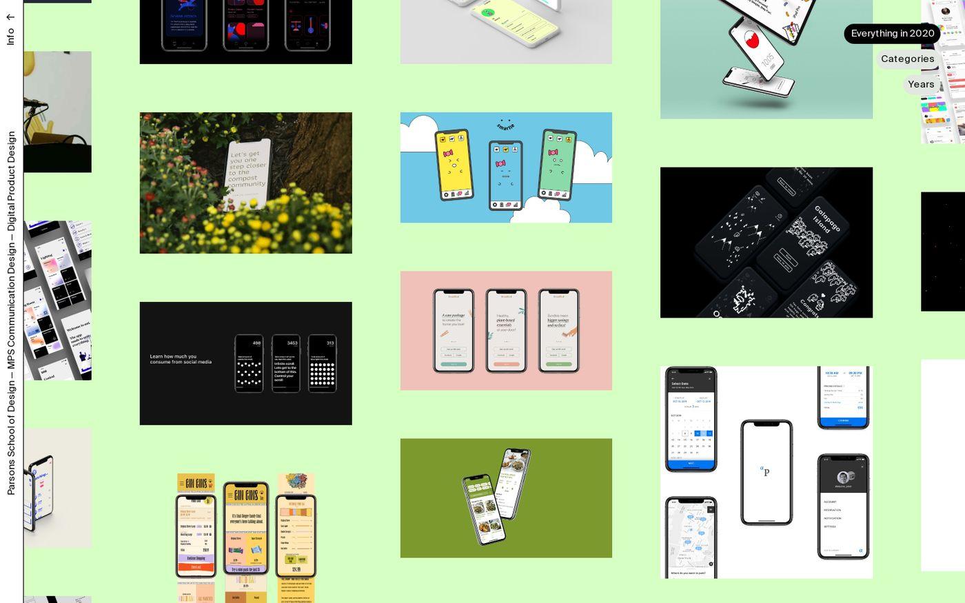 Screenshot of Parsons MPS Communication Design website