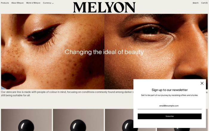 Screenshot of Melyon website