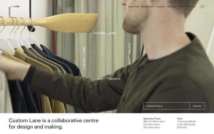 Screenshot of Custom Lane — Centre for Design and Making. Connect, Collaborate, Create.
