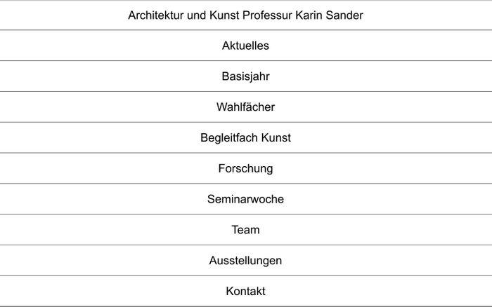 Screenshot of Architektur und Kunst Professur Karin Sander