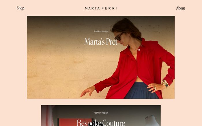 Screenshot of Marta Ferri website