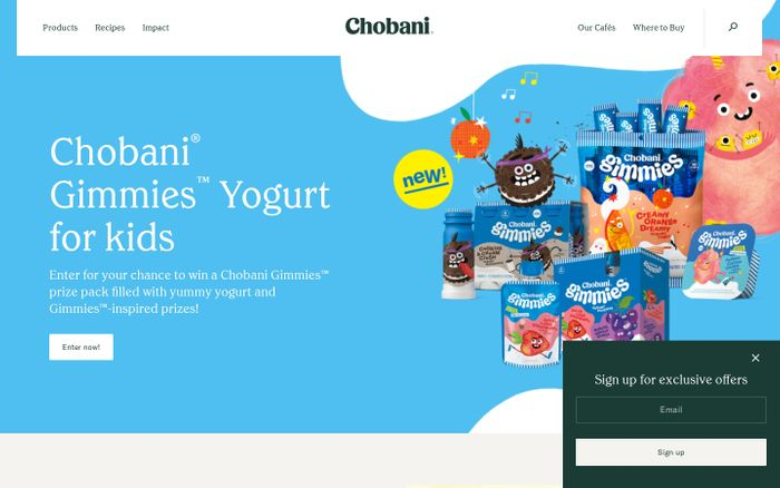 Screenshot of Chobani website