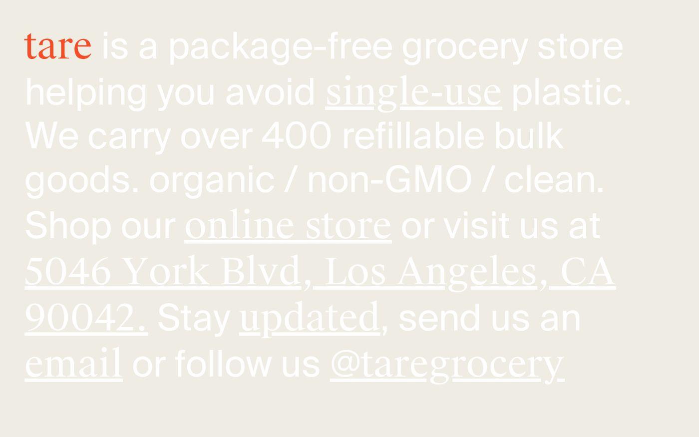 Screenshot of Tare website