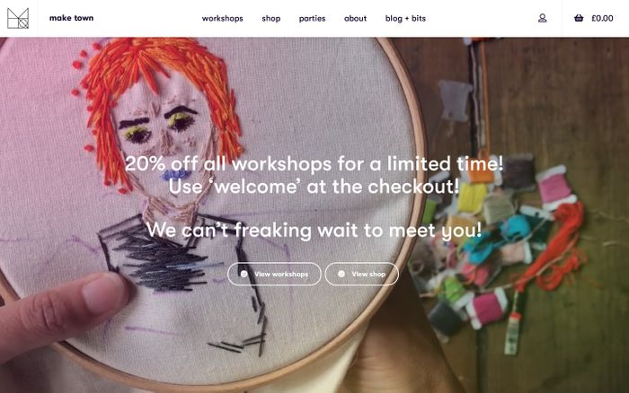 Screenshot of Oh Hey! · East London Weaving, sewing, knitting and more · Make Town