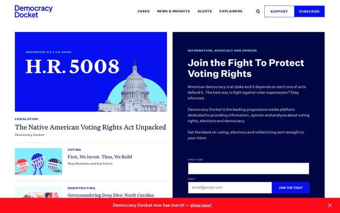 Screenshot of Democracy Docket website