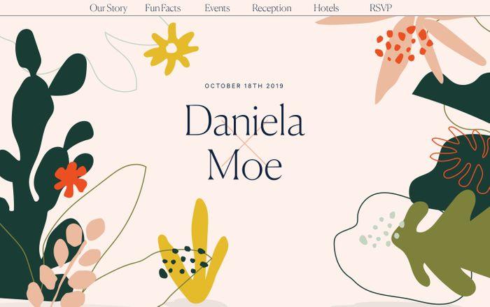 Screenshot of Daniela Covarrubias and Moe Amaya — Los Angeles Wedding website