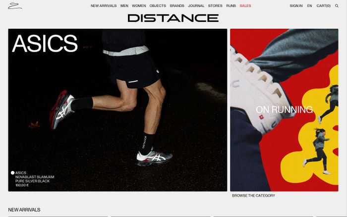 Screenshot of Distance store website