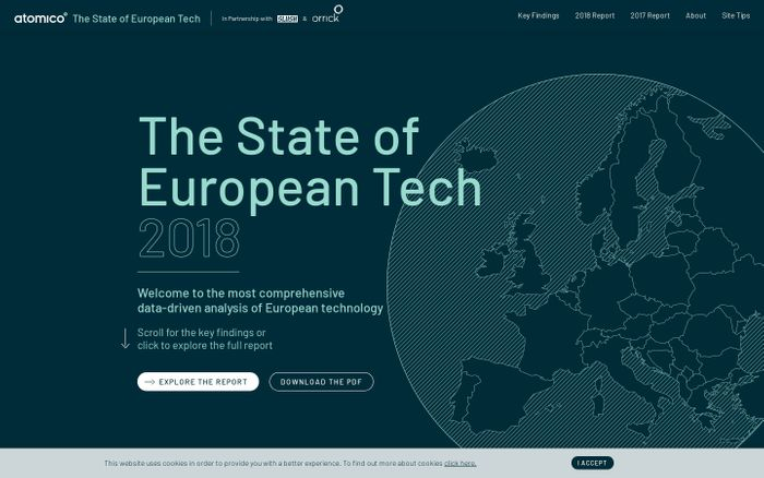 Screenshot of State of European Tech 2018 · State of European Tech 2018