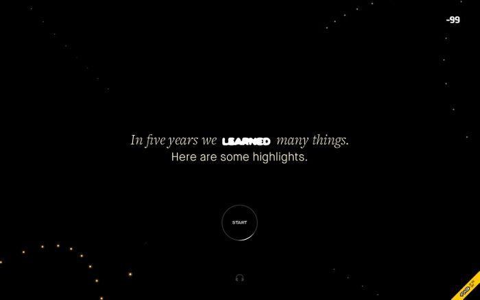 Screenshot of Five Years of -99 design studio website