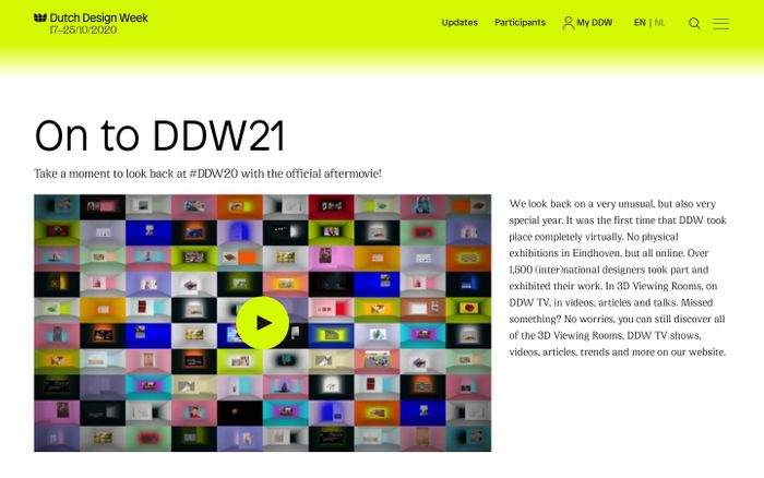 Screenshot of Dutch Design Week