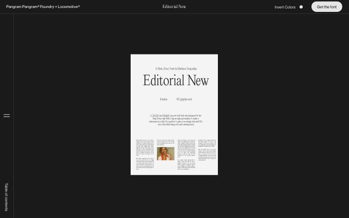 Screenshot of Editorial New website