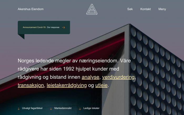 Screenshot of Forsiden | Akershus Eiendom website