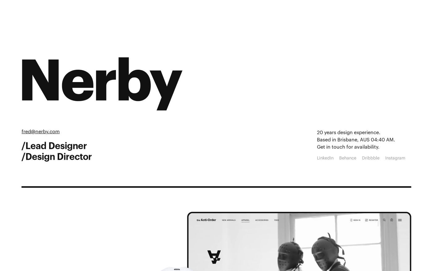Screenshot of Fred Nerby website