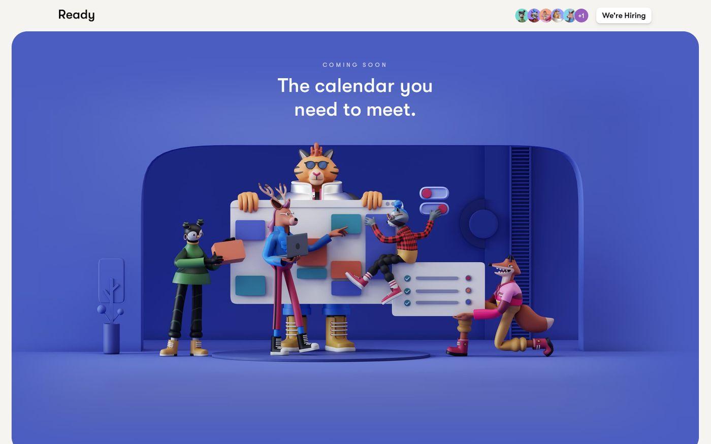 Screenshot of Ready website