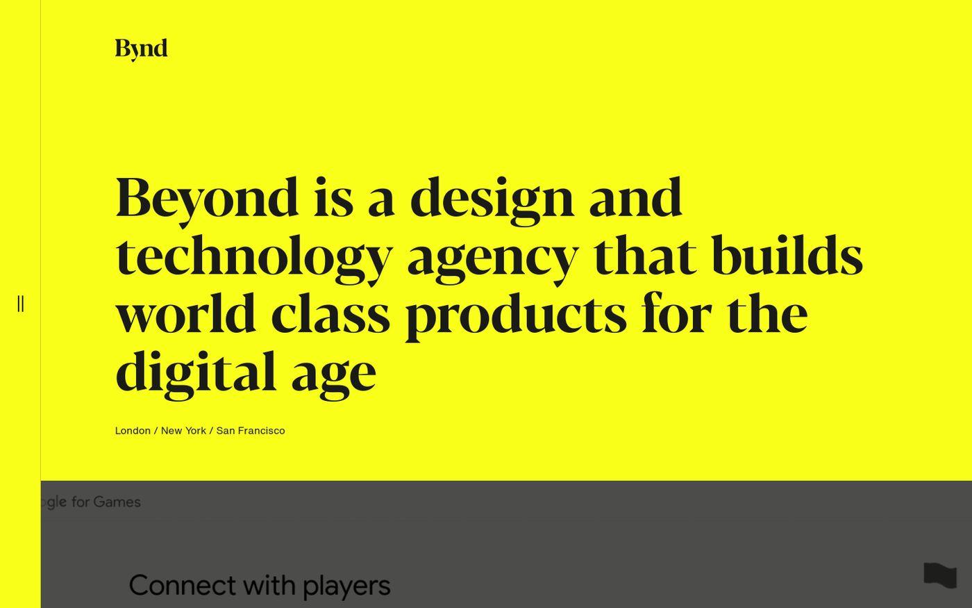 Screenshot of Beyond website