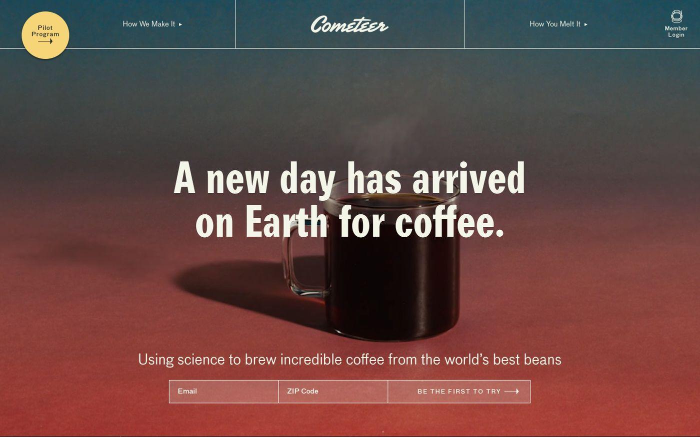 Screenshot of Cometeer website